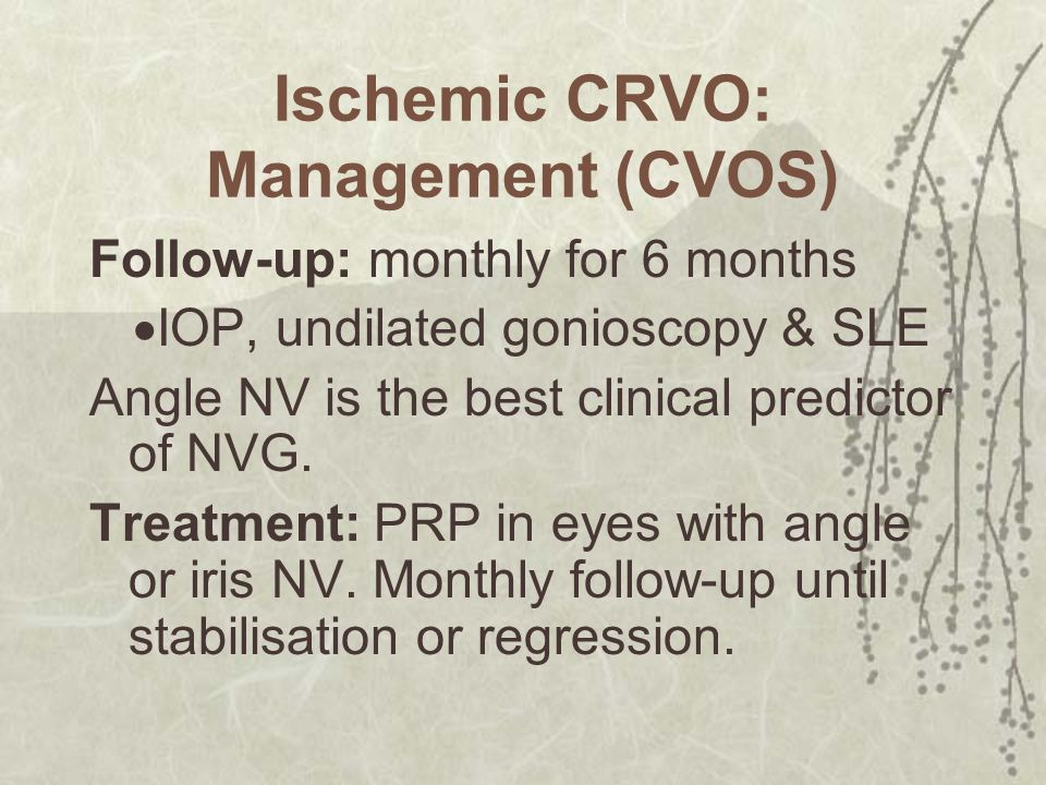Ischemic CRVO: Management (CVOS)