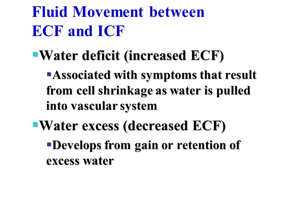 Fluid Movement between ECF and ICF