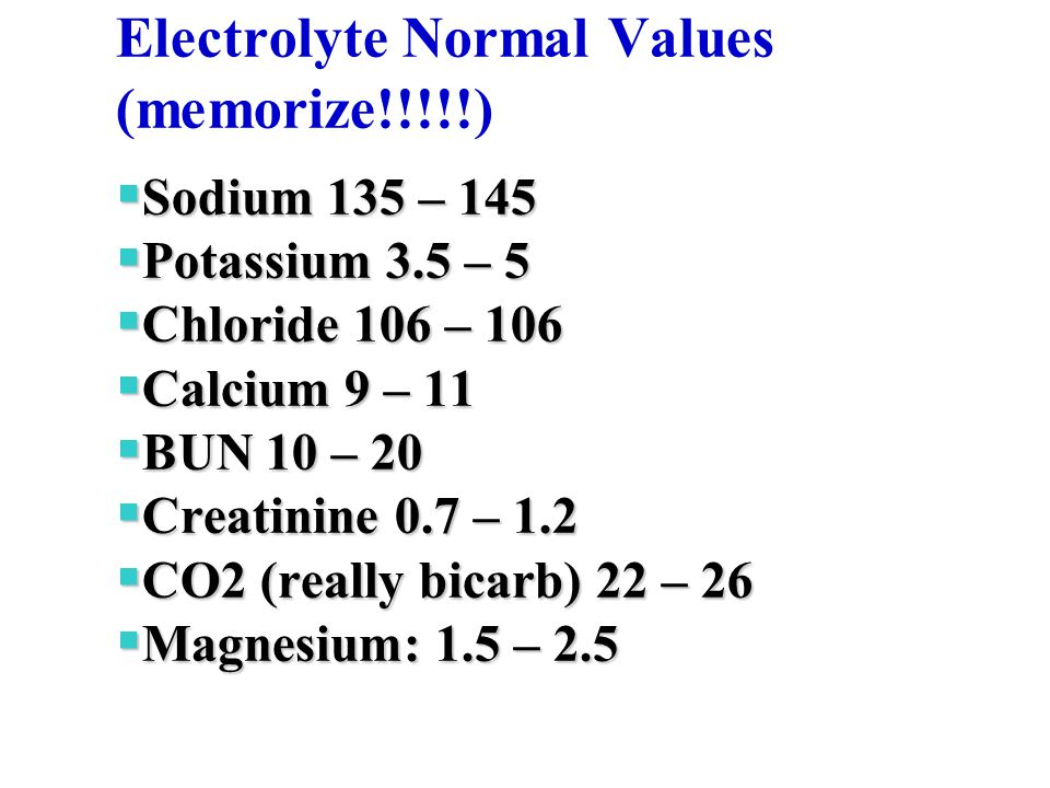 Electrolyte Normal Values (memorize!!!!!)