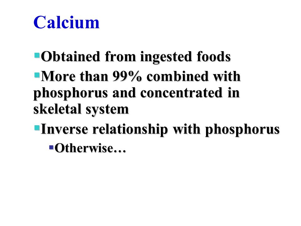 Calcium Obtained from ingested foods