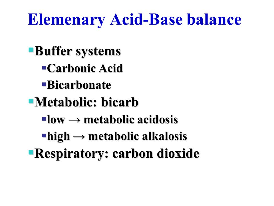 Elemenary Acid-Base balance