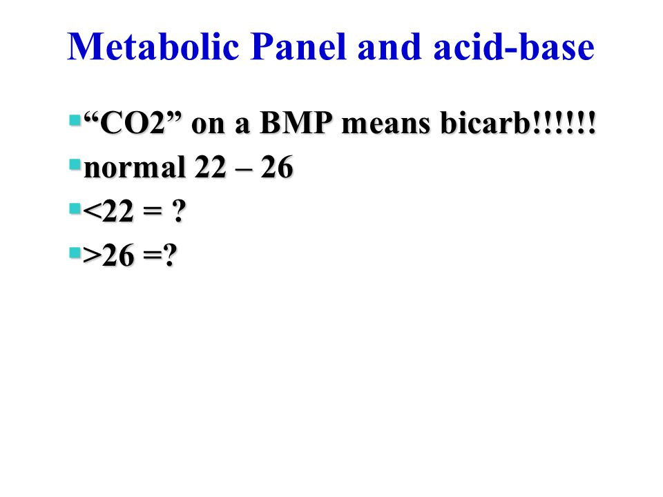 Metabolic Panel and acid-base
