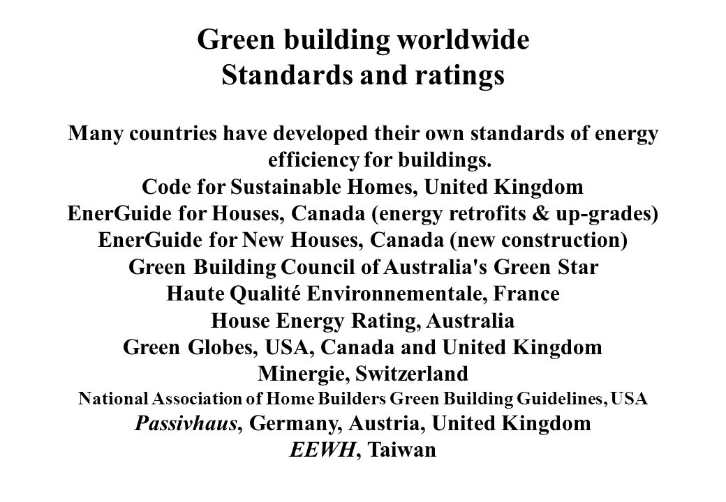 Green building worldwide Standards and ratings