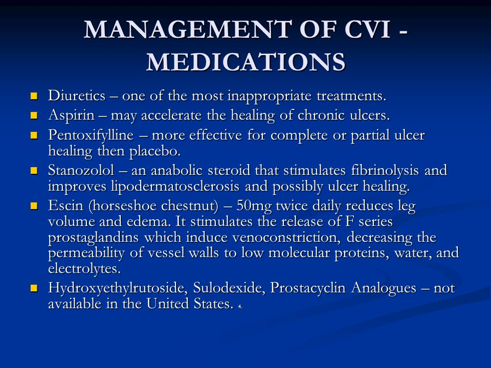 MANAGEMENT OF CVI - MEDICATIONS