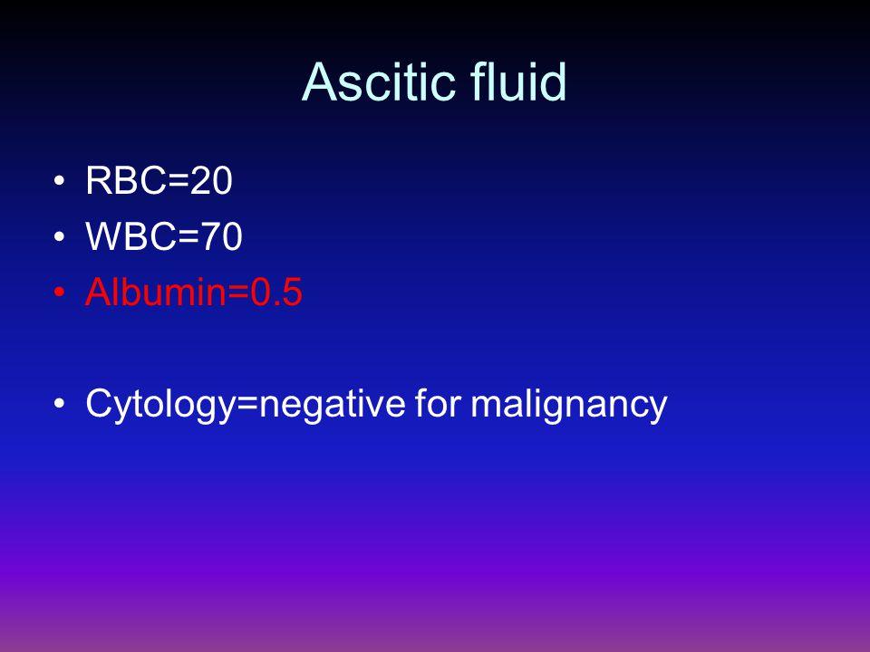 Ascitic fluid RBC=20 WBC=70 Albumin=0.5