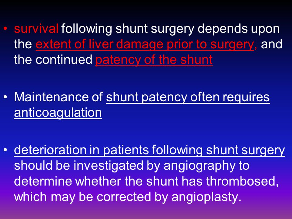 survival following shunt surgery depends upon the extent of liver damage prior to surgery, and the continued patency of the shunt