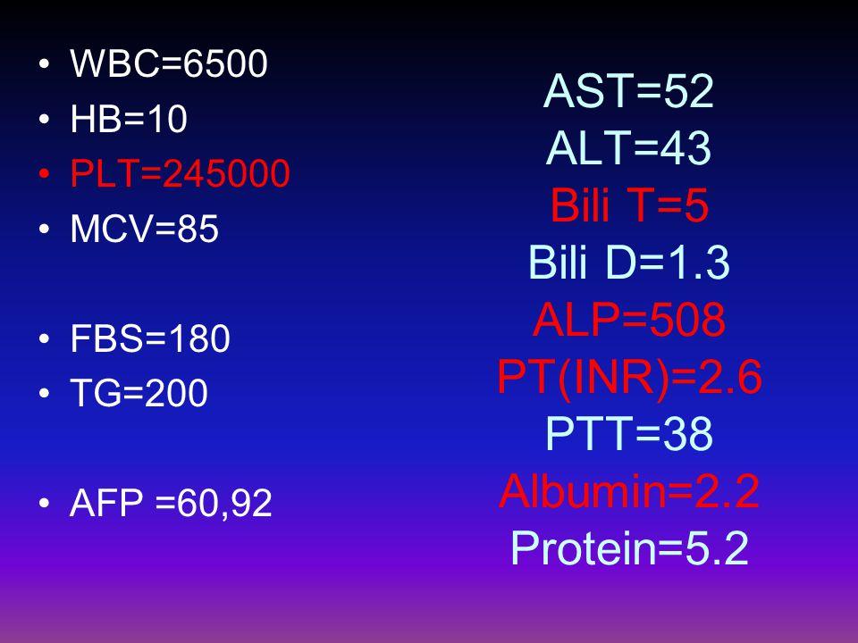WBC=6500 HB=10. PLT=245000. MCV=85. FBS=180. TG=200. AFP =60,92.