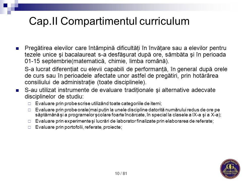 Cap.II Compartimentul curriculum