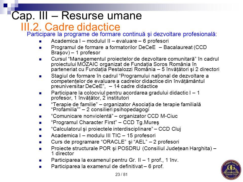 Cap. III – Resurse umane III.2. Cadre didactice