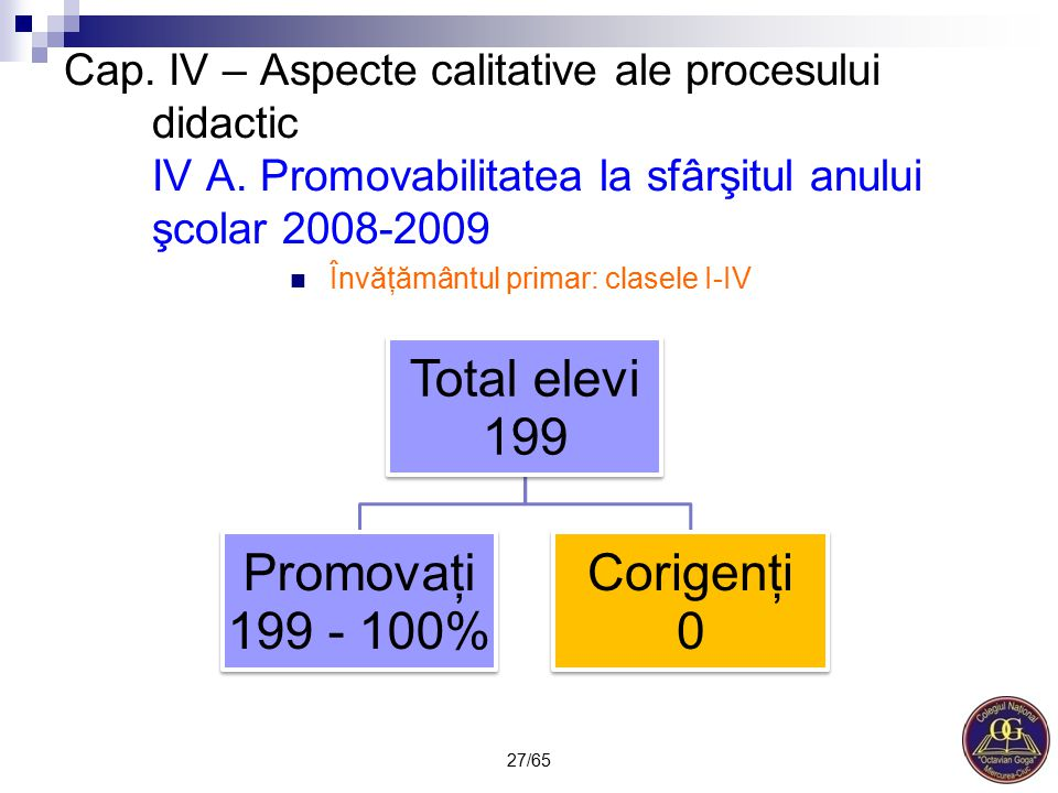Învăţământul primar: clasele I-IV