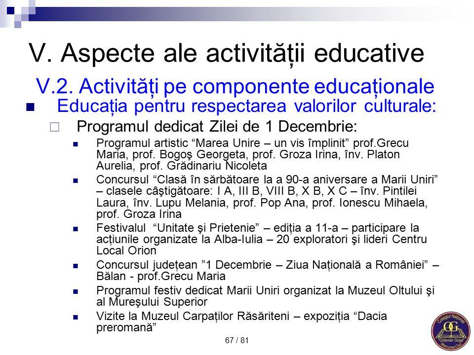 V. Aspecte ale activităţii educative V. 2