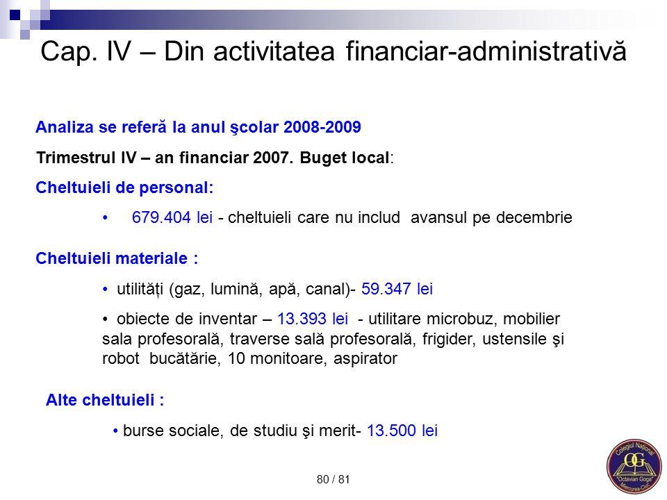 Cap. IV – Din activitatea financiar-administrativă