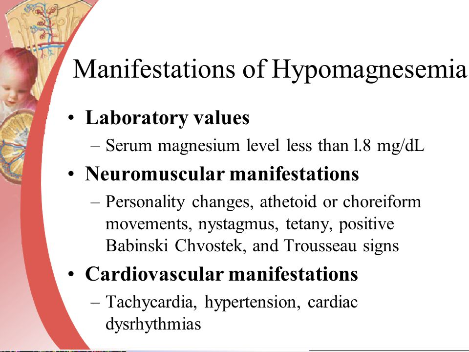 Manifestations of Hypomagnesemia