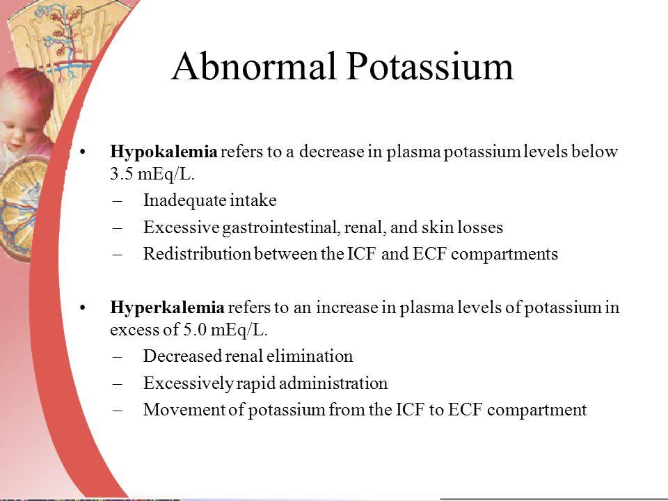 Abnormal Potassium Hypokalemia refers to a decrease in plasma potassium levels below 3.5 mEq/L.
