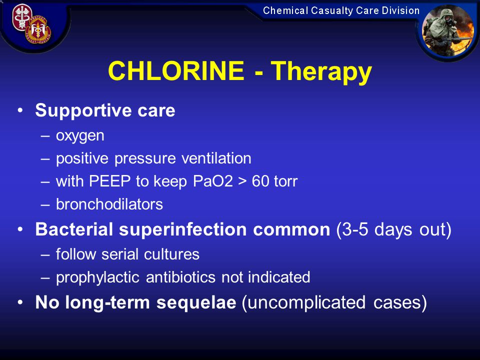 CHLORINE - Therapy Supportive care