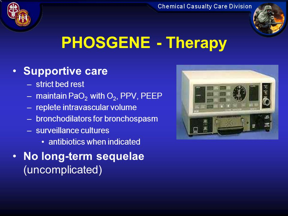 PHOSGENE - Therapy Supportive care