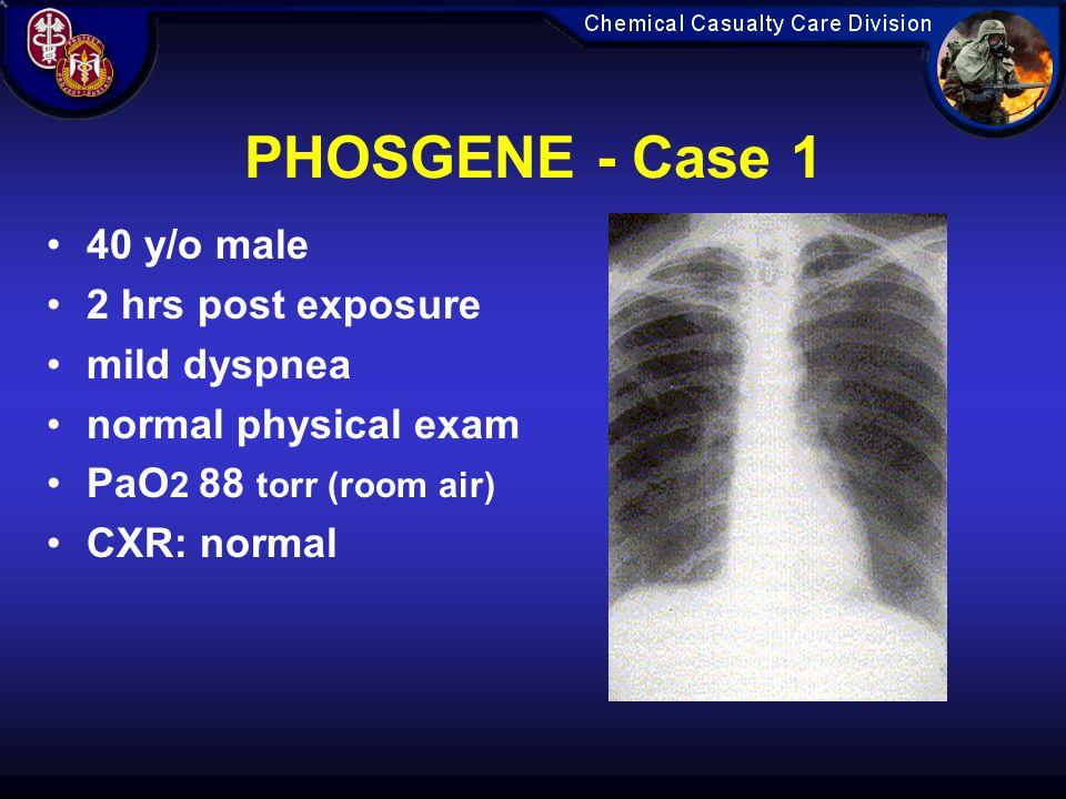 PHOSGENE - Case 1 40 y/o male 2 hrs post exposure mild dyspnea