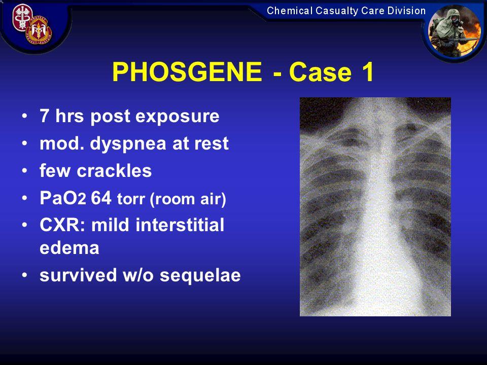 PHOSGENE - Case 1 7 hrs post exposure mod. dyspnea at rest