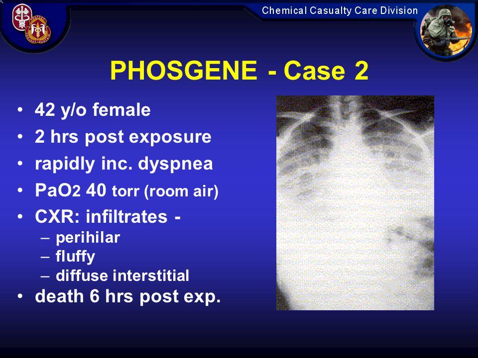 PHOSGENE - Case 2 42 y/o female 2 hrs post exposure
