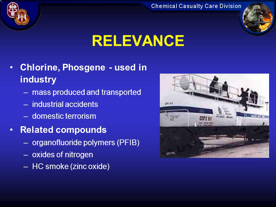 RELEVANCE Chlorine, Phosgene - used in industry Related compounds