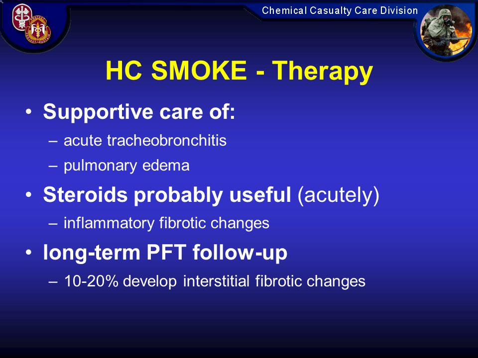 HC SMOKE - Therapy Supportive care of:
