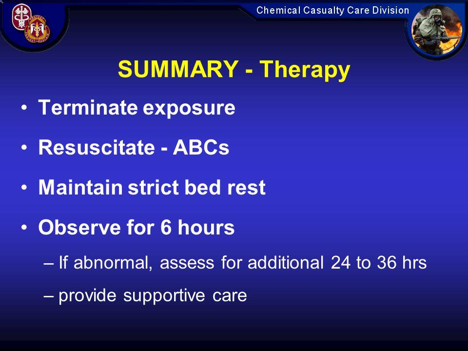 SUMMARY - Therapy Terminate exposure Resuscitate - ABCs