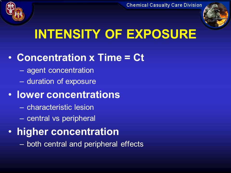 INTENSITY OF EXPOSURE Concentration x Time = Ct lower concentrations