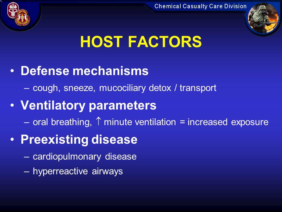 HOST FACTORS Defense mechanisms Ventilatory parameters