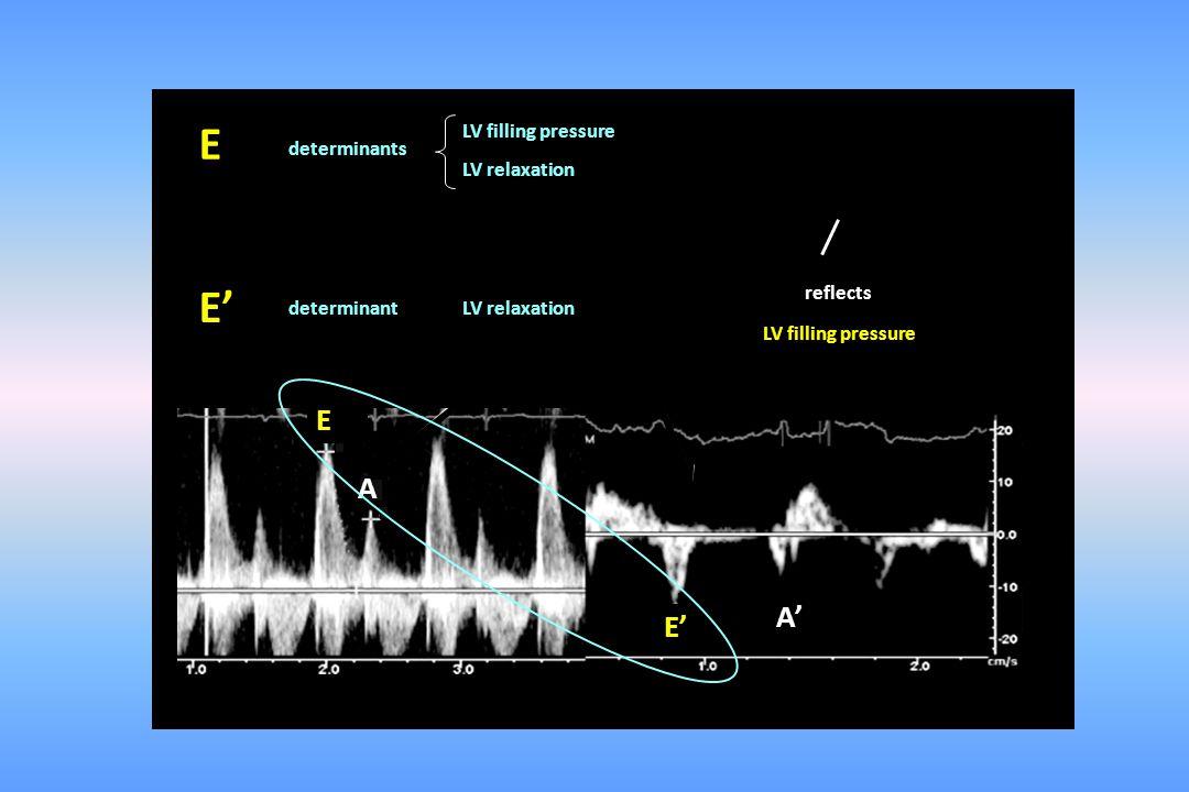 E E' E A A' E' LV filling pressure determinants LV relaxation reflects