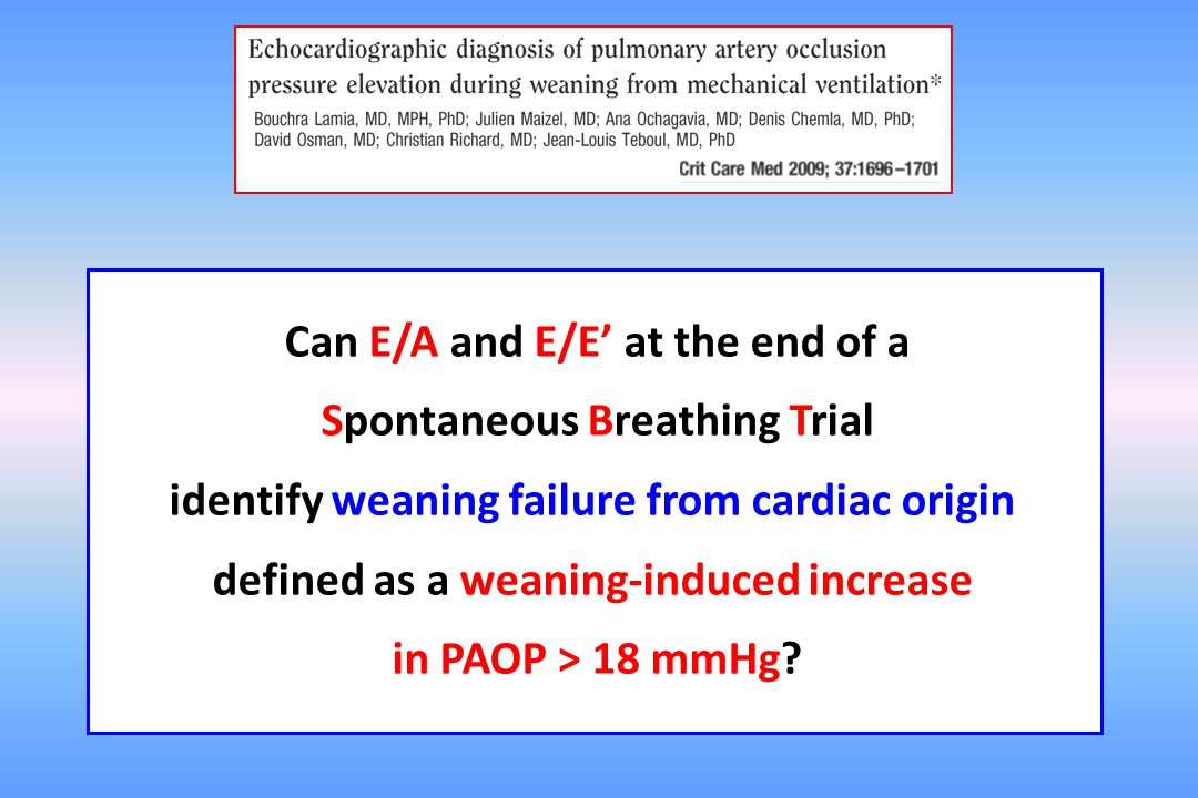 Can E/A and E/E' at the end of a Spontaneous Breathing Trial