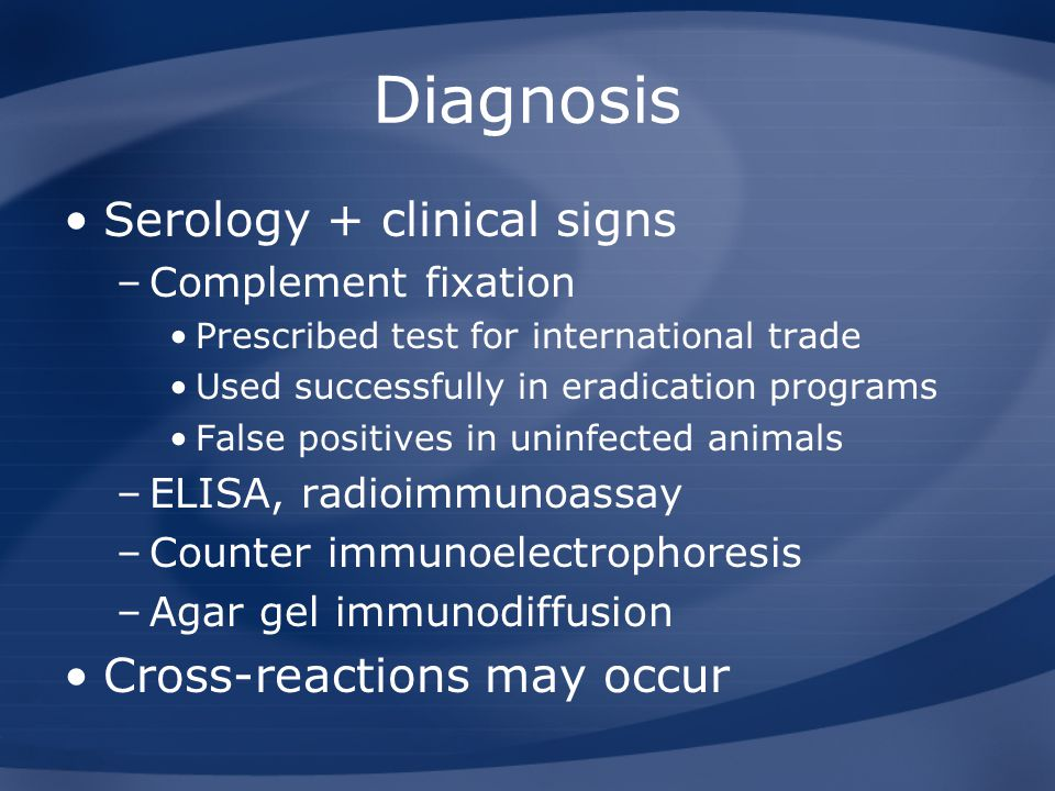 Diagnosis Serology + clinical signs Cross-reactions may occur