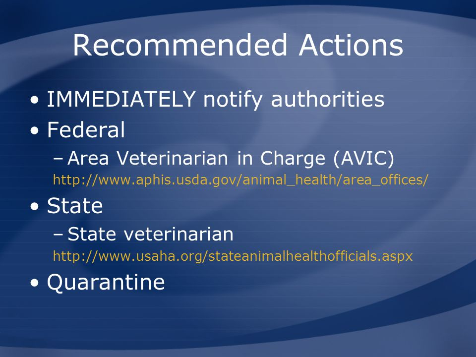 Recommended Actions IMMEDIATELY notify authorities Federal State
