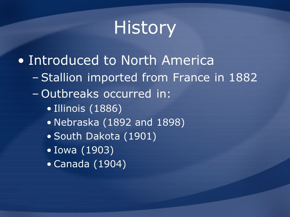 History Introduced to North America