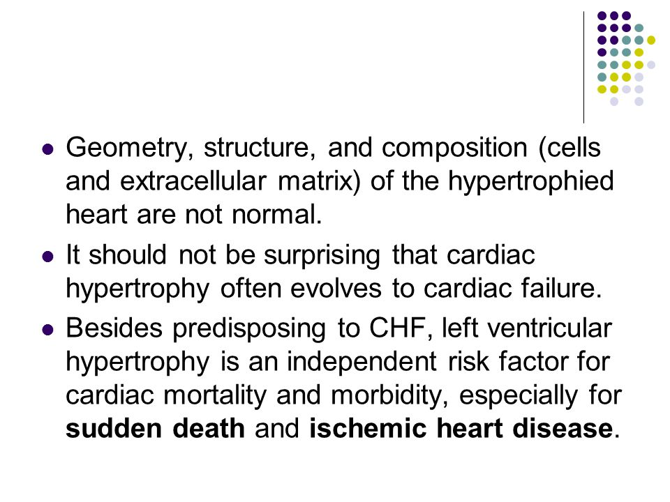 Geometry, structure, and composition (cells and extracellular matrix) of the hypertrophied heart are not normal.
