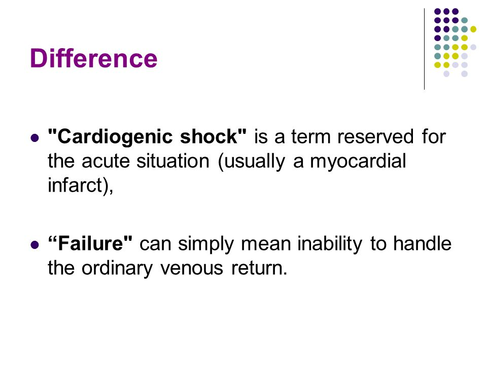 Difference Cardiogenic shock is a term reserved for the acute situation (usually a myocardial infarct),