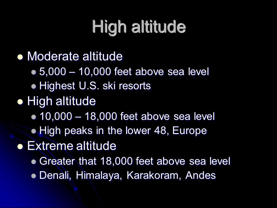 High altitude Moderate altitude High altitude Extreme altitude
