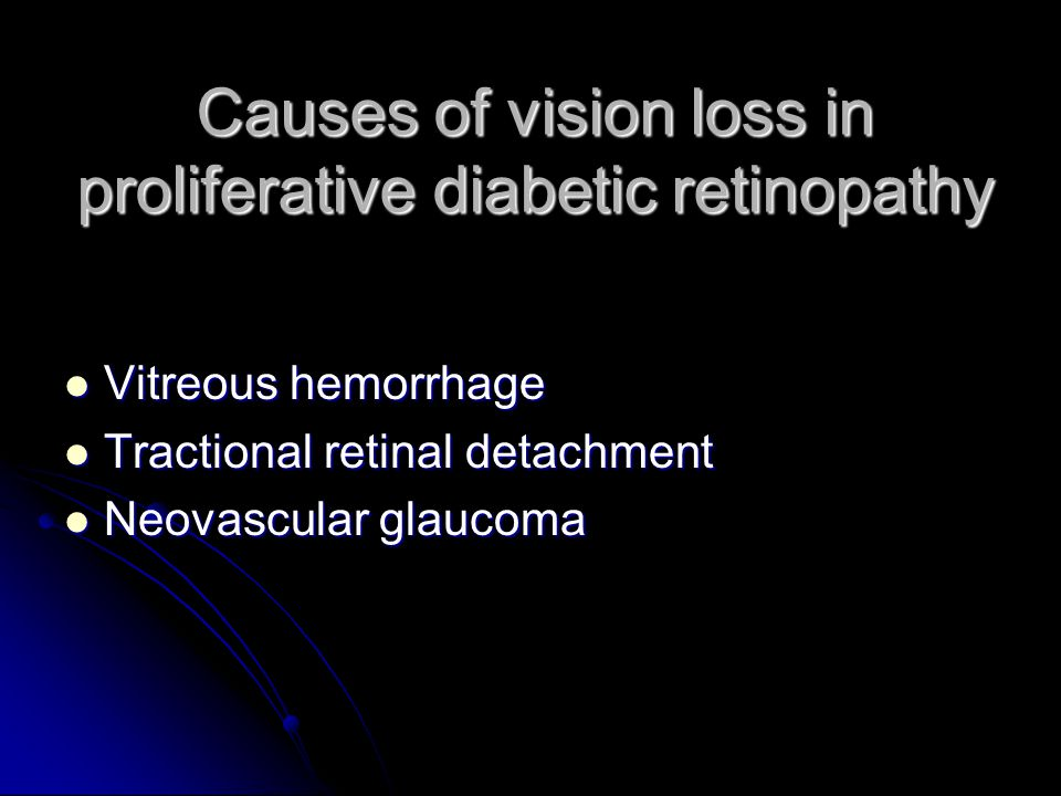 Causes of vision loss in proliferative diabetic retinopathy