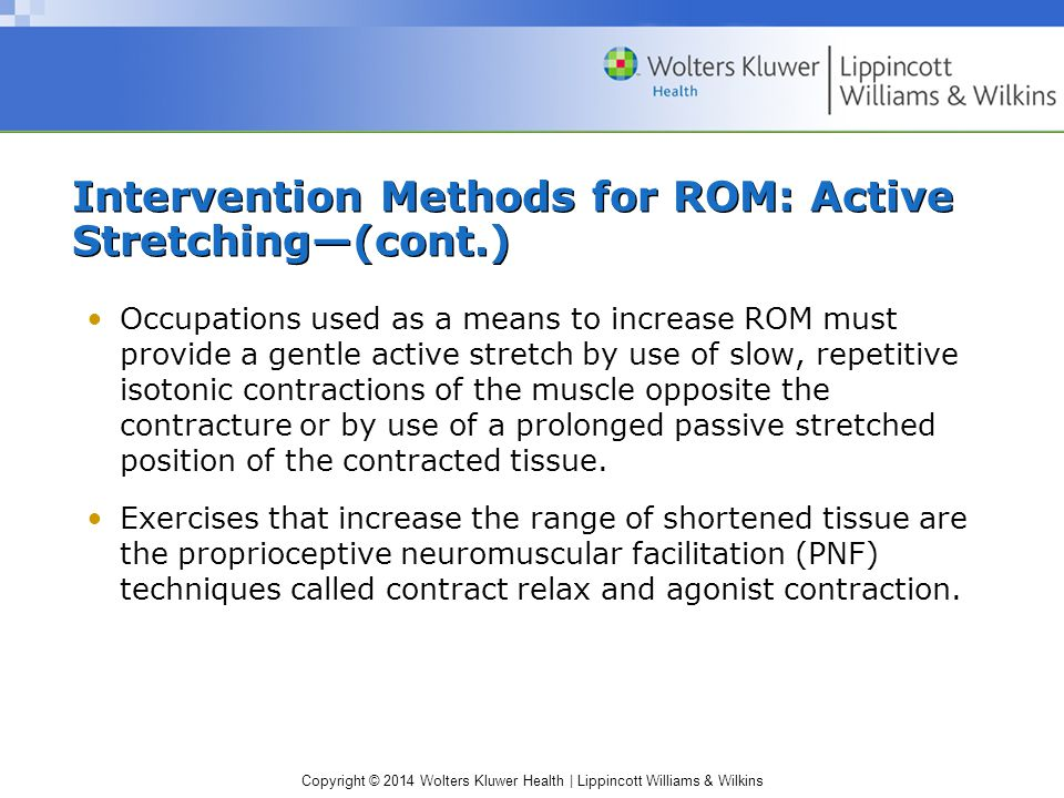 Intervention Methods for ROM: Active Stretching—(cont.)