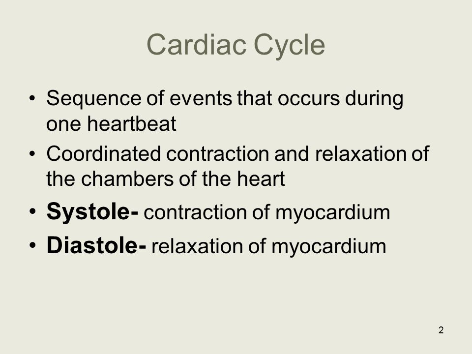 Cardiac Cycle Systole- contraction of myocardium