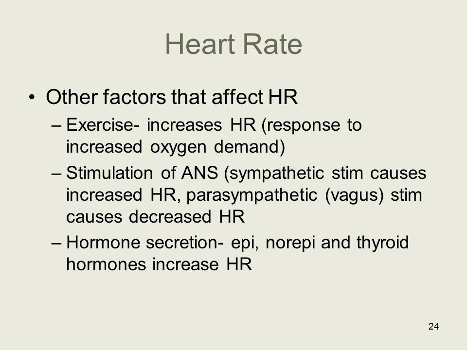 Heart Rate Other factors that affect HR