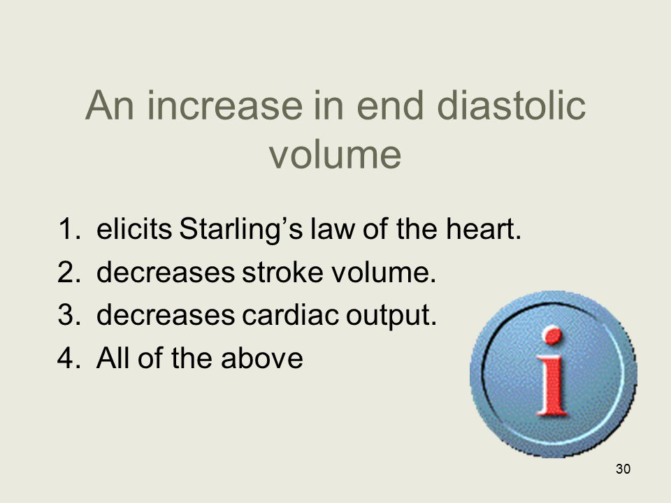 An increase in end diastolic volume