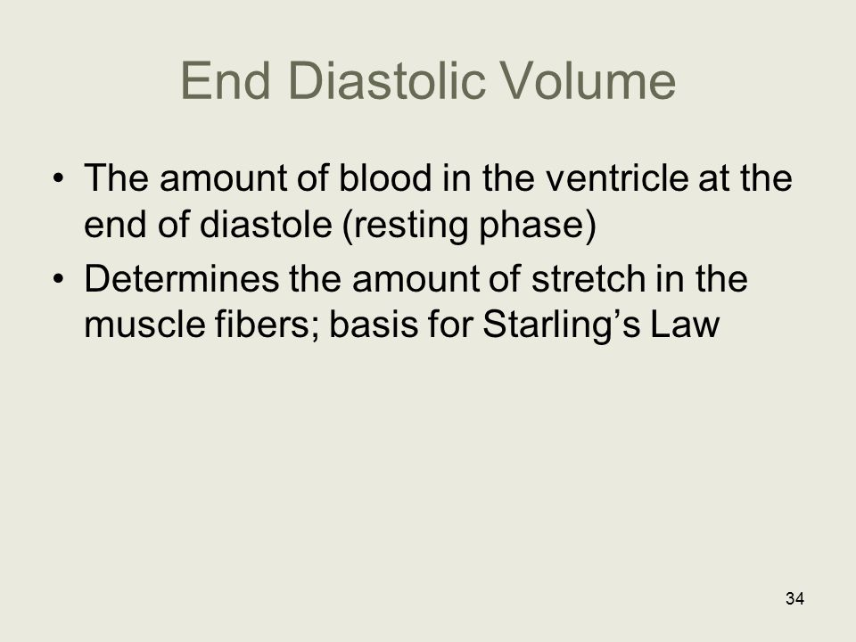 End Diastolic Volume The amount of blood in the ventricle at the end of diastole (resting phase)