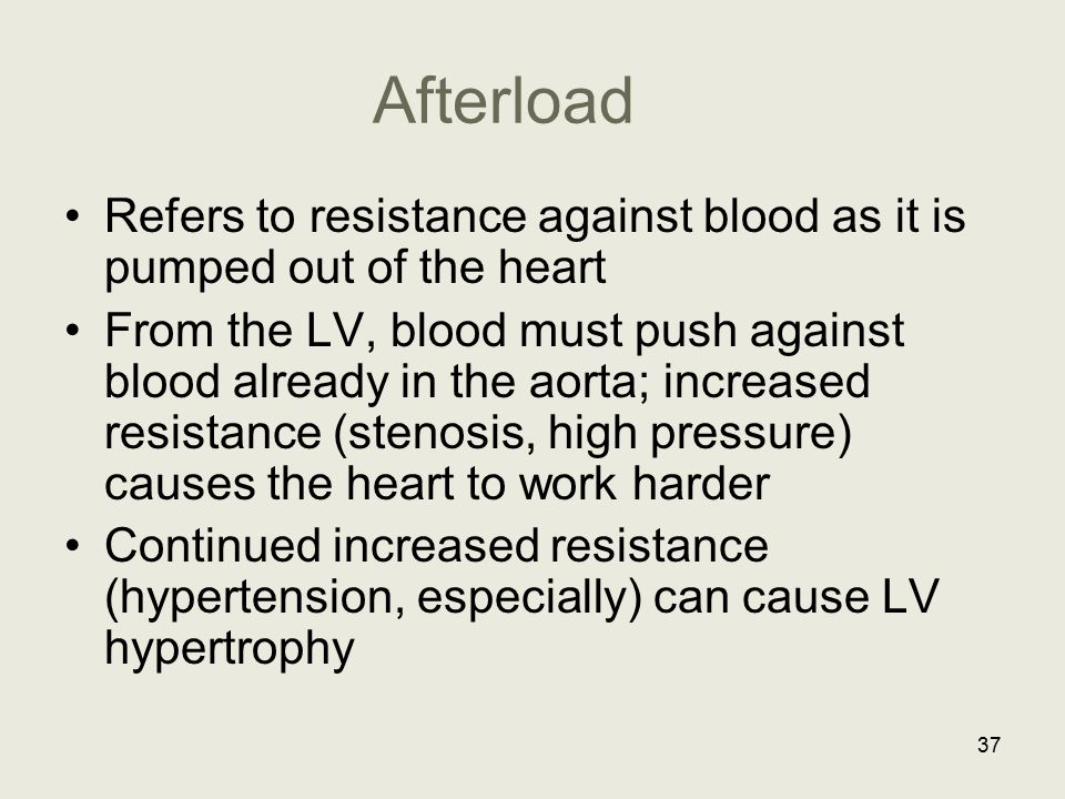 Afterload Refers to resistance against blood as it is pumped out of the heart.