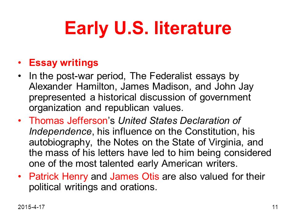 Early U.S. literature Essay writings