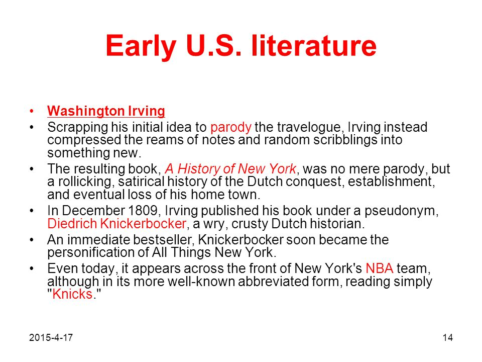 Early U.S. literature Washington Irving