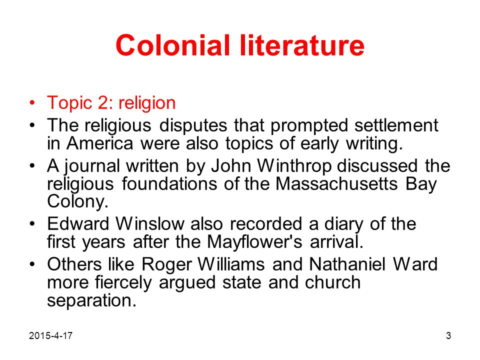 Colonial literature Topic 2: religion