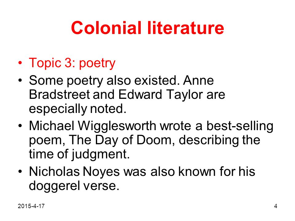 Colonial literature Topic 3: poetry
