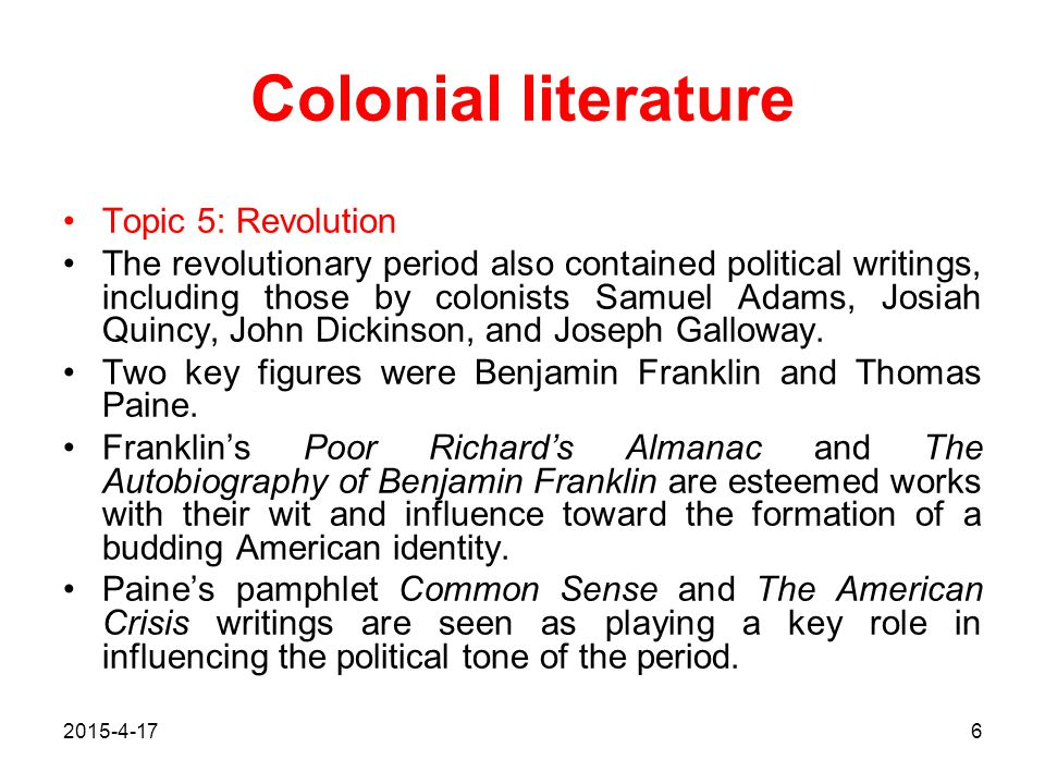 Colonial literature Topic 5: Revolution