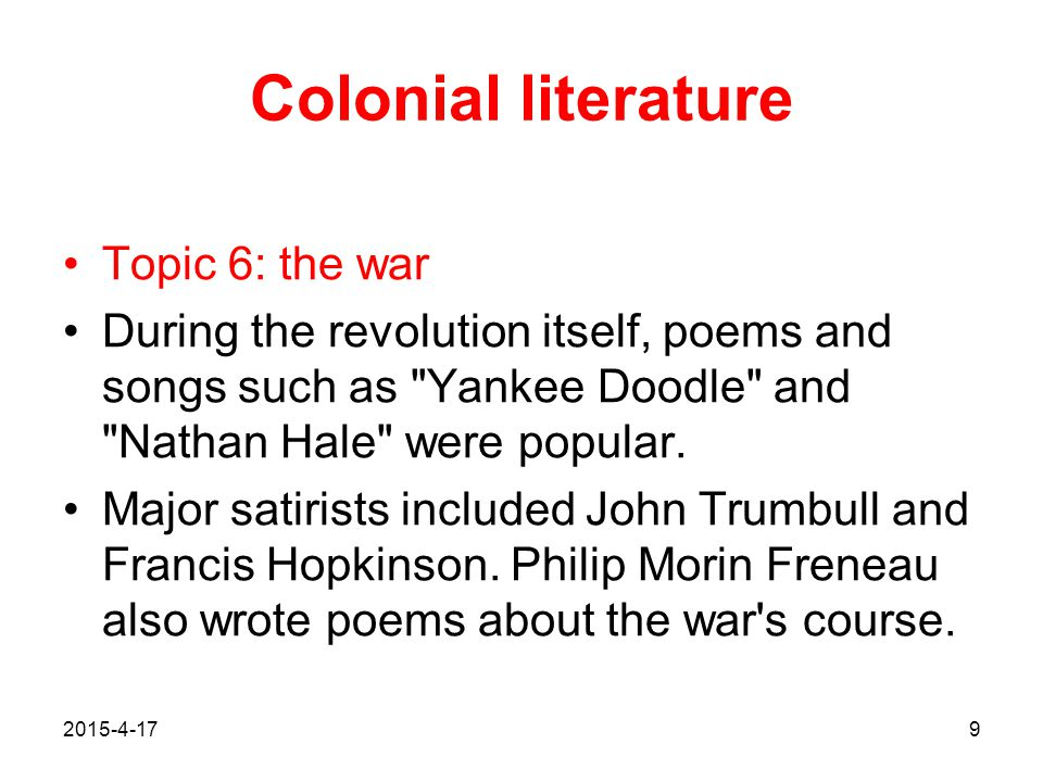 Colonial literature Topic 6: the war