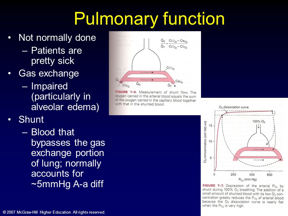 Pulmonary function Not normally done Patients are pretty sick